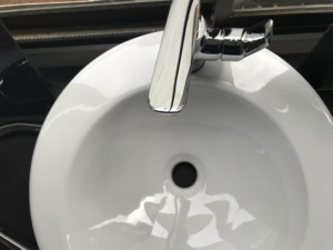Sink and silver tap