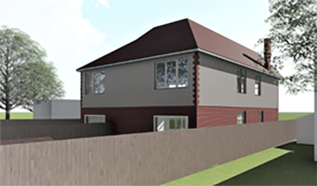 rear view render for conversion to 2 units