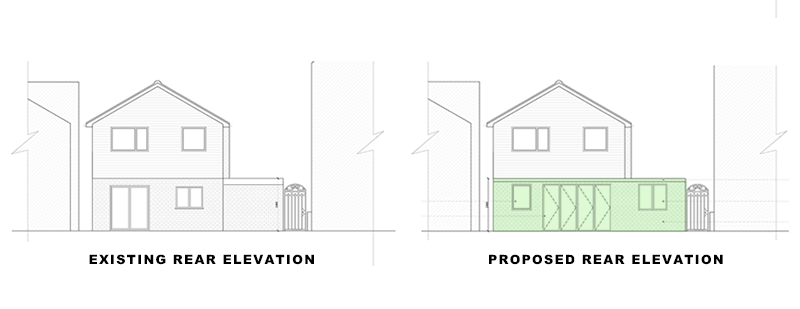 elevations of house in article on extension and landscaping