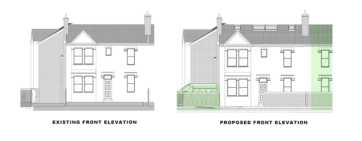 front elevations for article: side and rear extension, Wandsworth