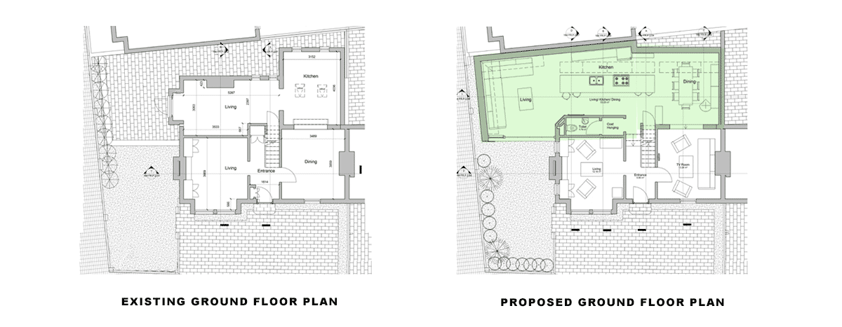 ground-plans for article: side and rear extension, Wandsworth