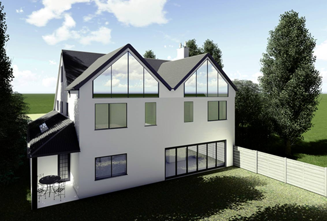 3d render of rear for portfolio article on single and double storey extensions