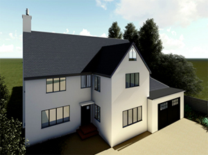 3d render of front for portfolio article on single and double storey extensions
