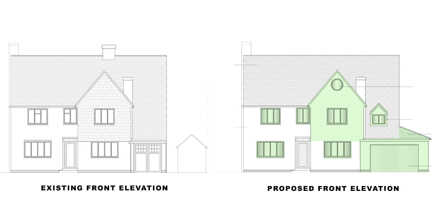 FRONT elevations for portfolio article on single and double storey extensions