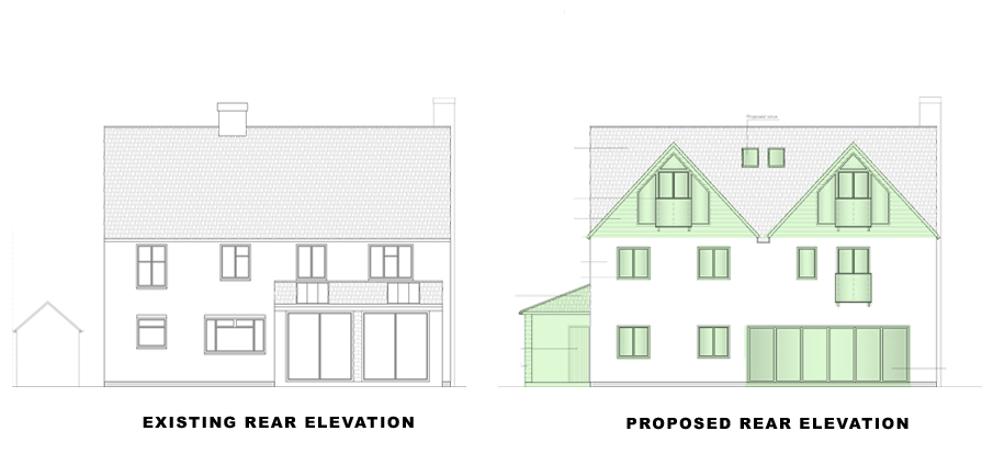 rear elevations for portfolio article on single and double storey extensions