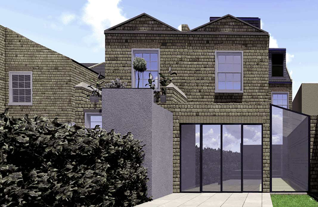 render of modern design on blog for Converting Single Storey Extension to Double