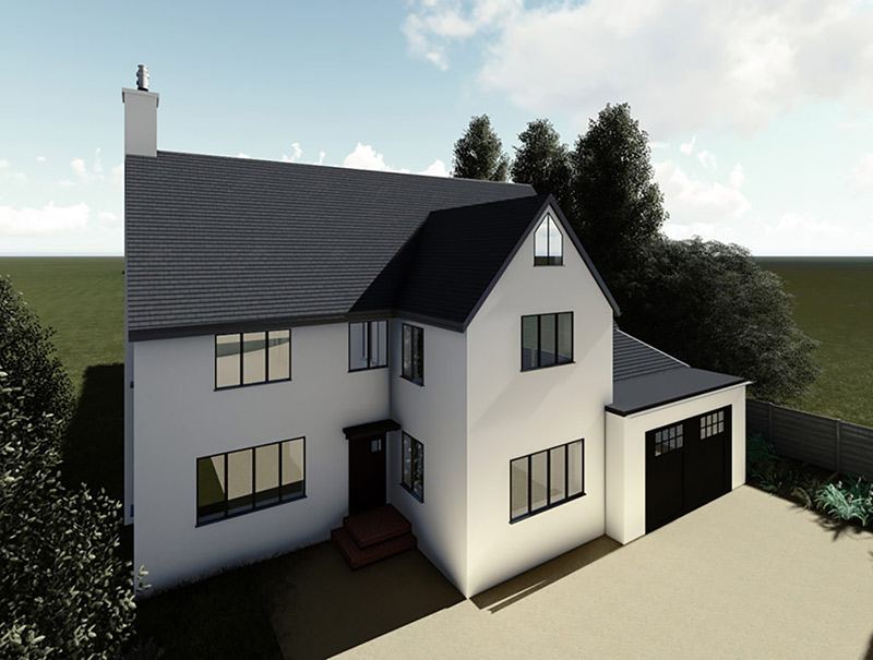 image of facade of house with double extension on blog for Converting single storey extension to double