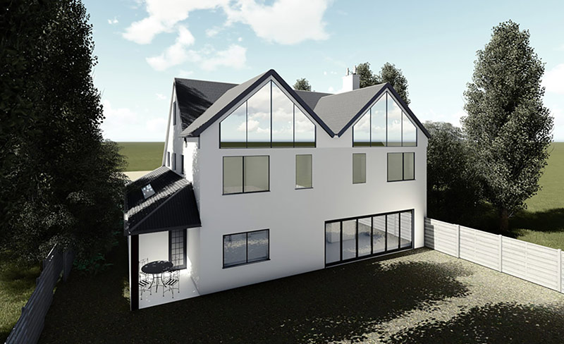 rear view render for blog on Converting Single Storey Extension to Double