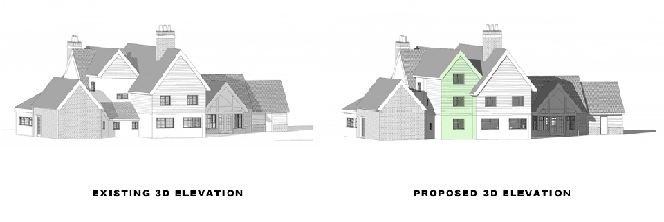 existing and proposed elevations in blog on Different Types of Loft Conversion