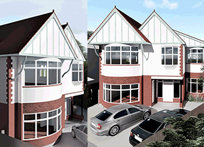 existing photo and front view render for conversion to 2 units