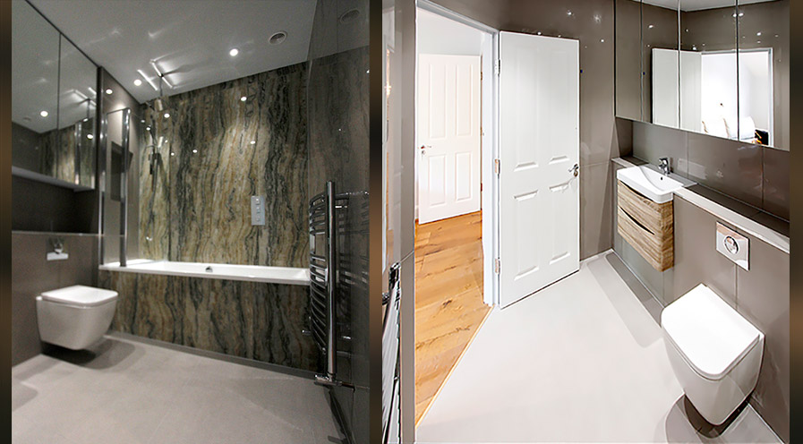 2 bathroom photos for blog on Stylish Loft Conversion & Reconfiguration