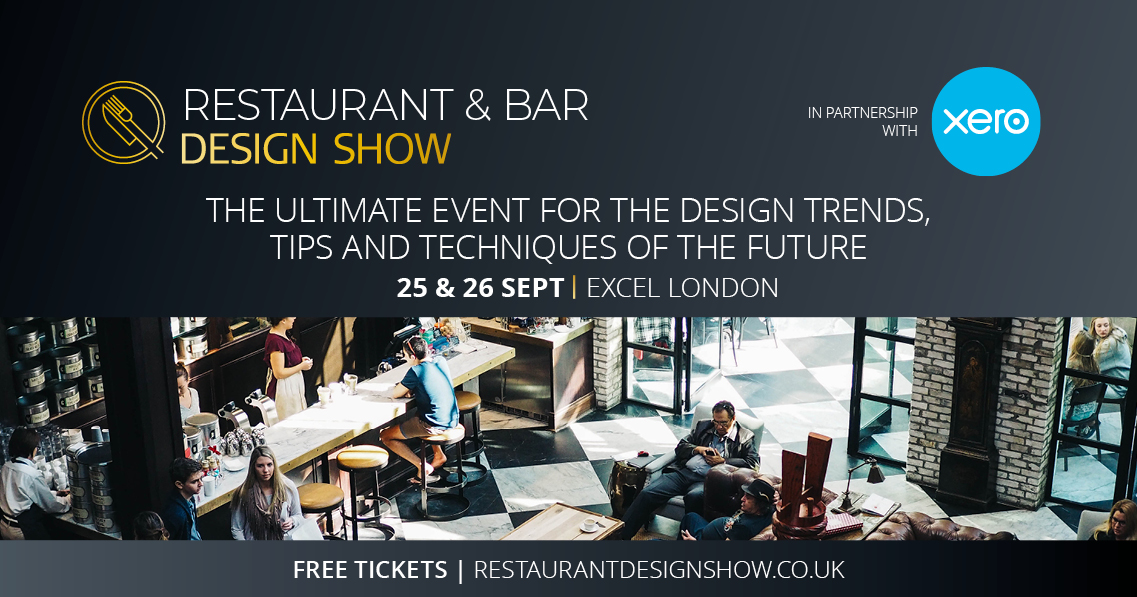 restaurant and bar design flyer for blog on extension architecture's stand at the Restaurant & Bar Design show 2018