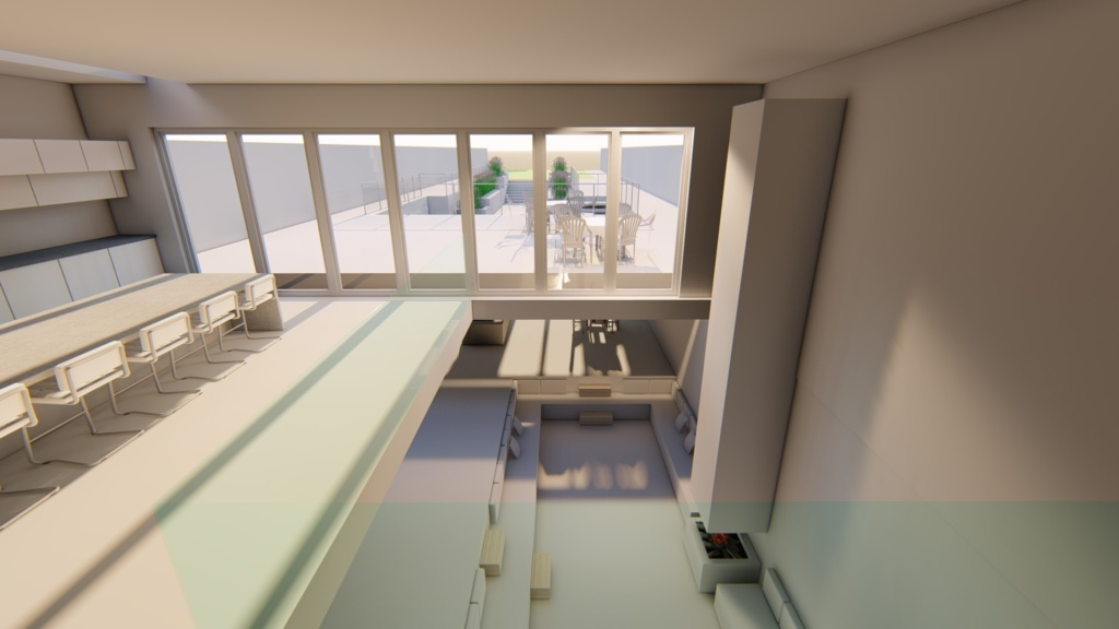17 New Street Hill; Void Perspective, New Build, and Interior top floor