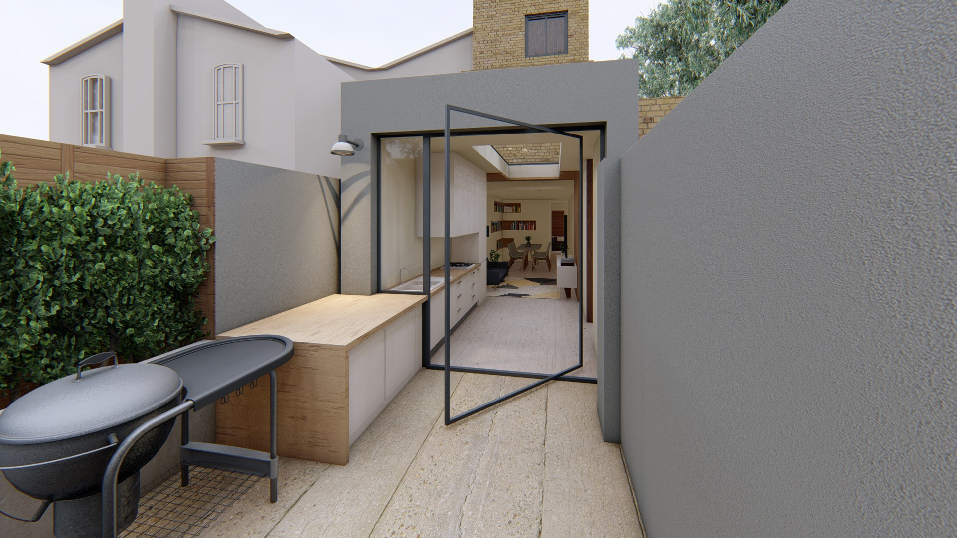 double storey extension model from garden with BBQ