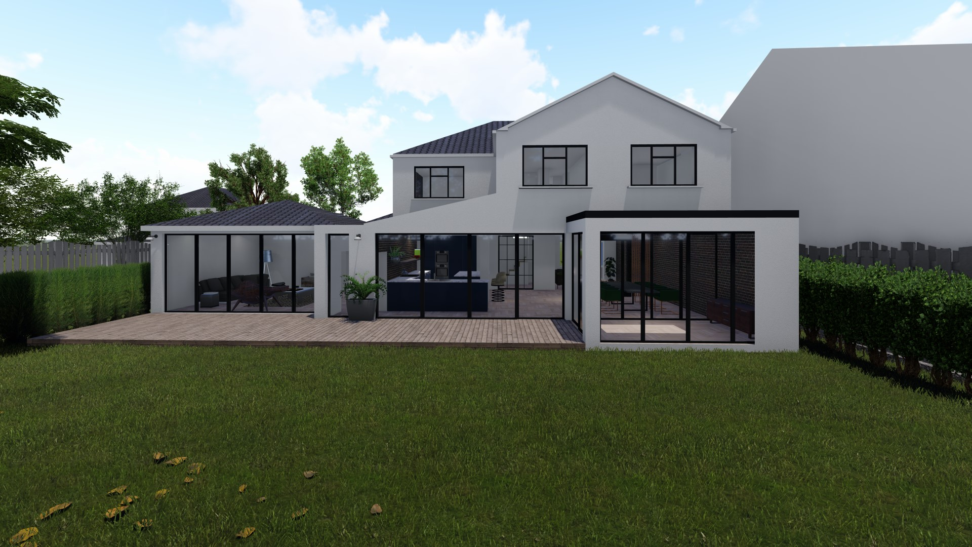 rear view of house extension model with patio