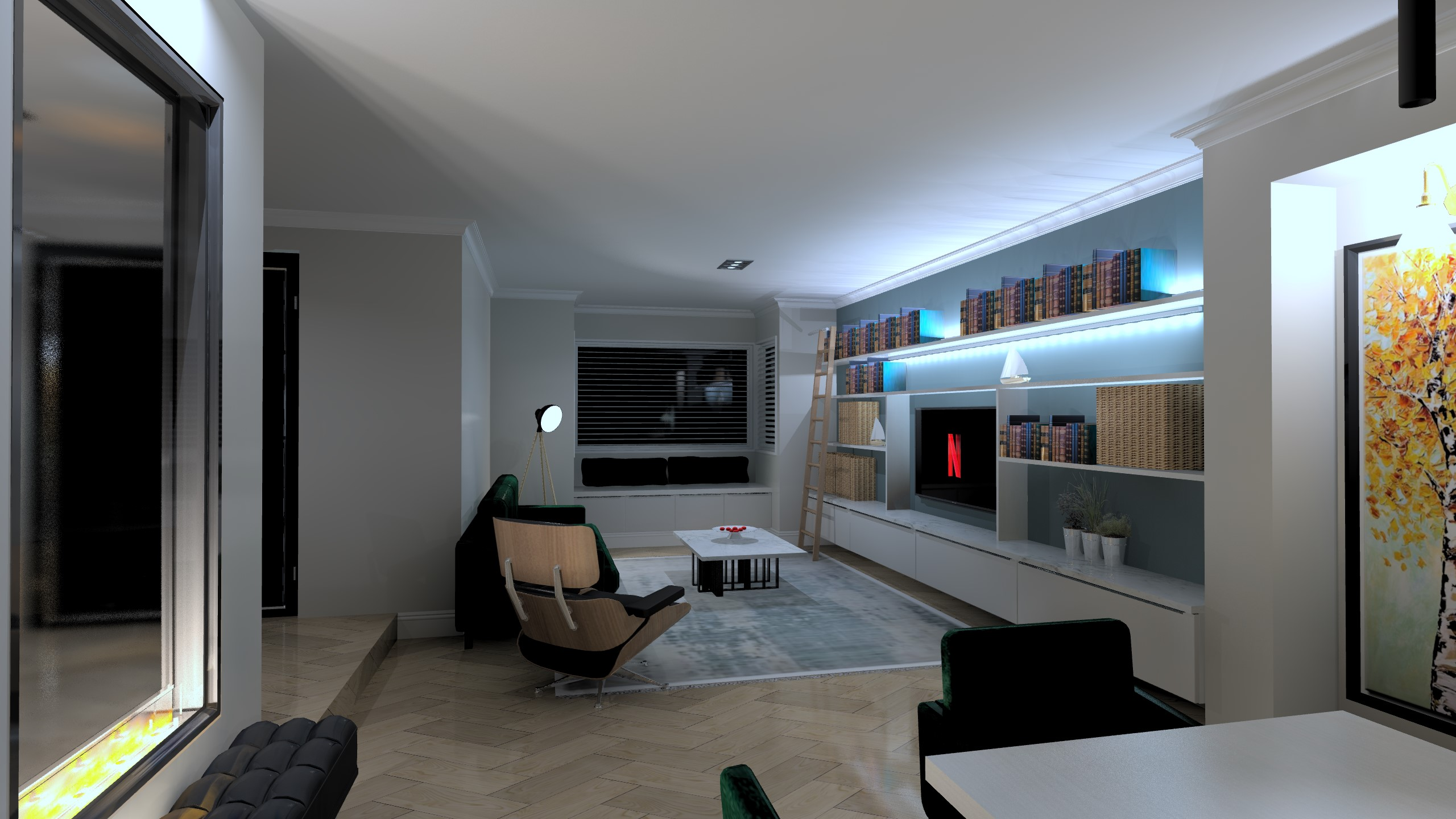 lounge extension at night